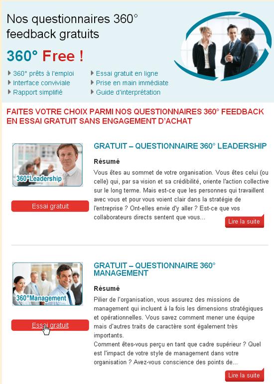 360 feedback en ligne - Choisir un questionnaire