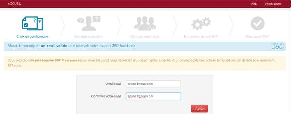 360 feedback en ligne - Saisir son email